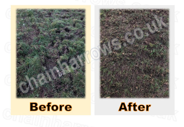 Field harrowing before and after pictures